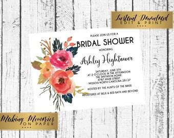 Graduation, Floral Bridal Shower Invitation, Instant download, editable shower,editable invitation, graduation, birthday, DIY, Flower Invite