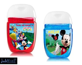 Mickey Mouse [inspired] Hand Sanitizer labels custom birthday party favors-- Peel and stick labels- Free Shipping!