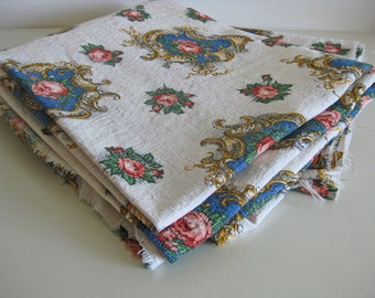 French barkcloth fabric with cartouches and pink roses 3 lengths available