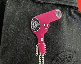 Pink Retro Hairdryer Brooch by Clumsy