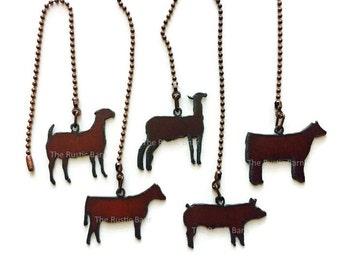 CEILING FAN PULL 4H Farm Animal Pig Goat Heifer Lamb Steer made of Rusty Rustic Recycled Metal