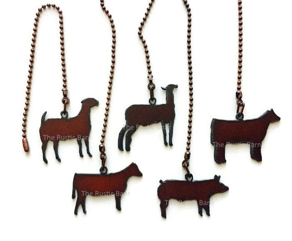 CEILING FAN PULL 4H Farm Animal Pig Goat Heifer Lamb Steer made of Rusty Rustic Recycled Metal