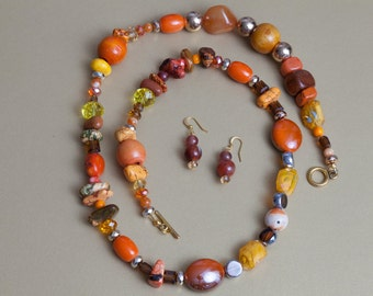 Long Multi-Colored 30-1/2 Inch Beaded Necklace