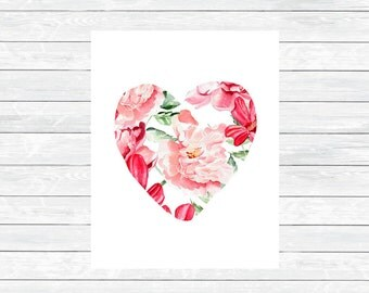 Floral Heart Wall Art Print  - Floral Heart Printable -Valenitnes Day Decor -Valentines Day gift for her -Last Minute Valentines Day Gift