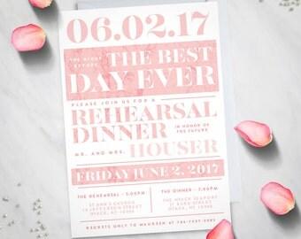 Blush Rehearsal Dinner Invitation (Digital File)
