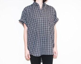 on sale - 90s 00s blue & beige plaid button-down / unisex loose short sleeve shirt / size XL / XXL