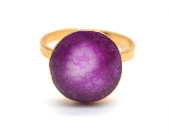 Solar Rustic Druzy Ring, 22k Gold Electroplated Gemstone Druzy Adjustable Ring 1pc (DZRG-12057)