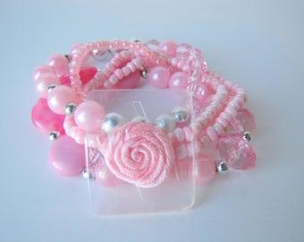 Pink Beaded Corsage Bracelet