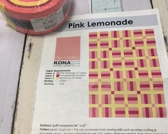 Robert Kaufman Pink Lemonade fabric roll, enough to make a 46 x 62 quilt top.  instructions included for this quilt,