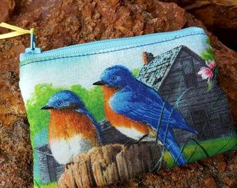 Bird Coin Purse, Zipper Wallet, Bird Change  Purse