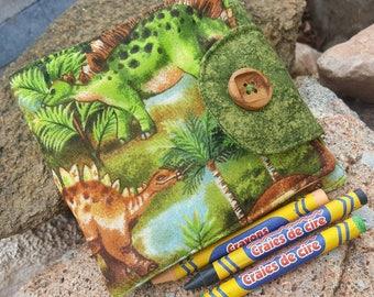 Dinosaur Crayon Wallet, Boy's Crayon Billfold, Crayon Holder