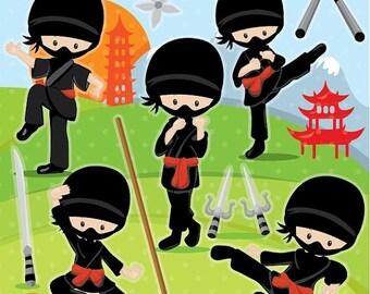 80% OFF SALE Ninja clipart commercial use, ninja boys vector graphics, karate digital clip art, ninja party digital images - CL1020