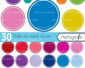80% OFF SALE 30 polka dot label clipart commercial use, vector graphics, digital clip art, digital images  - CL466