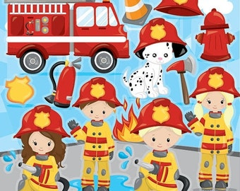 80% OFF SALE Firefighter clipart commercial use, firemen vector graphics, firefight digital clip art, digital images - CL963