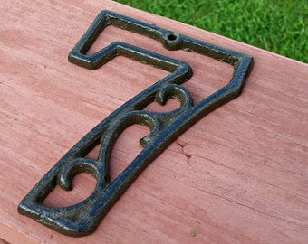 House Address Number | Metal House Number | Mailbox Number | House Address Sign | Cast Iron Number | Rustic 4.5 inches | NUMBER SEVEN