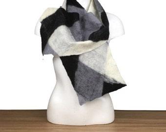 Monochrome felted scarf, braided black, grey and white merino wool