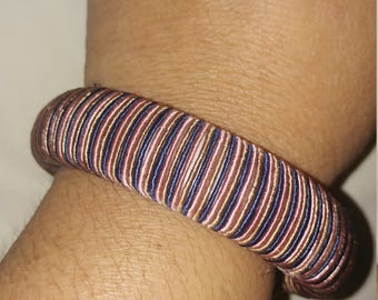 Vintage Fabric Covered Bangle In Pink Blue Gold Thin Stripes Bangle Bracelet