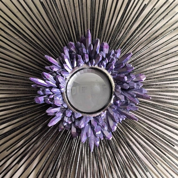Crystal Starburst Mirror 27 inches      modern starburst mirror / sunburst mirror / unique sculpture / original art