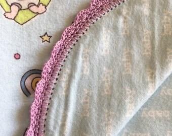 Flannel Baby Blanket crochet edging purple blue
