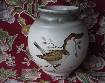 Hand Painted Bird Vase , Signed Hand Painted Vase with Bird