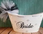 Bride Wedding Gift Basket, Oval Tub, Bridal Shower Gift Basket