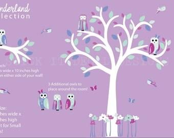 Owl Decal,Girl Owl Nursery Wall Decal, Small Owl Tree Decal, Nursery Wall Decal, Wonderland Collection, Berry Bliss Design