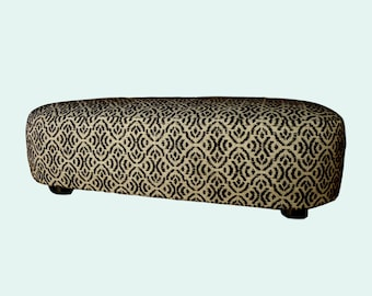 Upholstered footstool, footstool, footstool in the retro look, size 40 x 27 cm, height 13 cm, reference: flat fabric, beige Brown,.