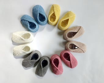 Organic Crossover Toe Baby Booties: Hand Knit Organic Cotton Crossover Toe Baby Shoes with Tapered Heel, Soft Sole Baby Shoes. Ready To Ship