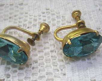 Vintage CORO Teal Blue Earrings...Oval Faceted Blue Stone Screw Back Earrings...Circa 1950s...Coro Jewelry