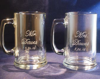 4 Engraved Classic Beer Mugs ,  Free Personalization