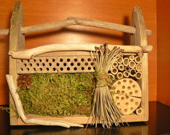 Bee house, Mason bee house, 101 bug house, Bug hotel, garden art, gift idea, Rustic garden art, Driftwood, Wedding gift idea, rustic decor