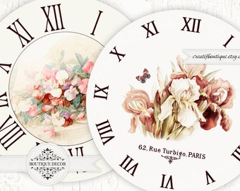Vintage Clock Face. Set of 2 pics 8.2x8.2 inch. Digital collage sheet for scrapbooking or decoupage.