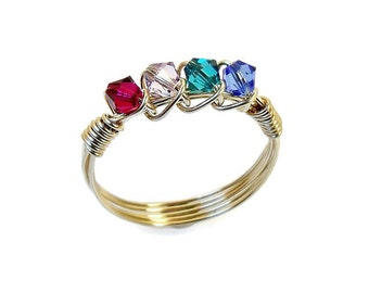 Family Ring, Mother's Ring, gold ring, gift for mom, birthstone ring, mother's ring, wire wrapped ring, custom ring