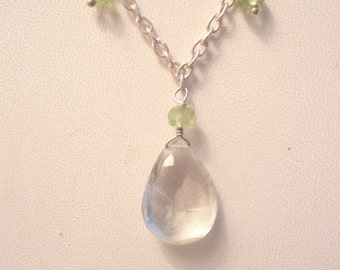 Vintage Genuine Peridot Sterling Necklace Faceted Pendant And Dangles