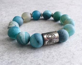 Blue Agate Geode Beaded Bracelet - Genuine Stone Beads, Silver Spiral Charm, Stretchy Beading Cord, Zodiac, Chakras, Healing, Reiki