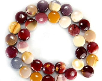 Sale 15.5 inch Strand 12mm Natural Red Yellow Mookaite Coin Beads Strand Beads Autumnal Colors