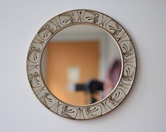 Rare! Vintage Danish Kähler (Kahler) - HAK - Mirror - handpainted decor - stoneware - Danish mid century pottery