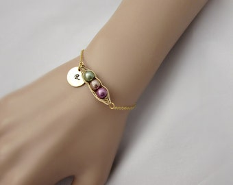 Pea Pod Bracelet, Triplet Bracelet, Birthstone Pearl Bracelet, Bridesmaid Gifts, UK Seller, Initial Bracelet, Gold Pea Pod, Triplet Gifts