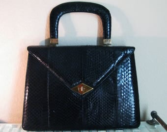 1950s Black Snakeskin Purse Large - Audrey Hepburn Style