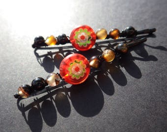 Millefiori Red Flower- Brown Agate- Beachwear- Beach- Beaded Bobby Pins- Summer Hair Style Accessory- Gift Idea for Teen Girls and Women