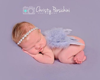 FREE Shipping! Newborn Photo Prop Angel Feather Wings, Newborn Baby Wings, Baby Girl Photo Prop,  Newborn Boy Photo Prop Gray Wings