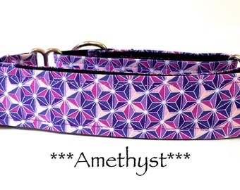 Martingale Dog Collar, Dog Collar, Purple Dog Collar, Buckle Dog Collar, Purple Dog Collar, Geometric, Amethyst