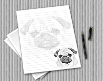 Pug stationery, Digital writing paper, printable dog notepaper, writing paper, printable journal pages, digital paper, PUG journal pages,