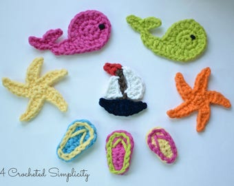 Crochet Pattern: Fun in the Sun Crochet Appliques - Permission to sell finished items