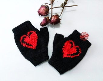 Fingerless gloves, knit fingerless gloves, love gift, winter gift, fingerless mittens, fingerless glove, heart gift, winter gloves, gloves