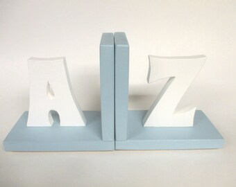 Personalized Alphabet Letter Initial Bookends, Childrens Room Decor, Nursery, Baby Shower Gift, A to Z Bookends