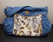 Large Gorgeous EUC 1996 Baby Looney Tunes Lovables Tapestry Blue Jean Diaper Bag Tote Purse zippered pockets vintage Warner Bros Christmas