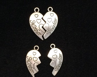 Mother Daughter Hearts 3 sets 6 pieces, double heart charm, Mother hearts, 21x26mm antique silver finish 31-17-AS