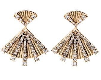 reproduction of 50s/early 60s fan earrings - gold with rhinestones - metal with studds