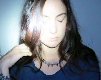 KODIA - rope choker necklace, ethnic choker necklace, statement necklace, spike necklace, tribal necklace, edgy necklace, graphic necklace